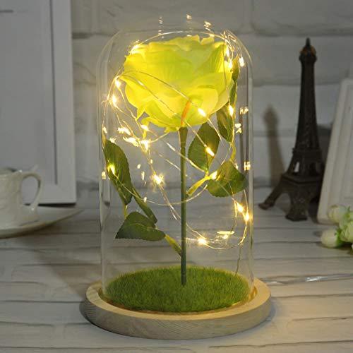 Rosa Mobestech A Bela e a Fera com luzes LED em redoma de vidro sobre base de madeira para Dia das Mães, Dia dos Namorados, Aniversário, Verde