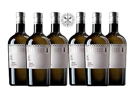 MONJE DEL CLUNY Vino blanco – Albariño Rias Baixas – Criado sobre lías - Producto Gourmet – Vino Colección - Vino bueno para regalo – caja de vino - vino Premium - 6 botellas x 75cl