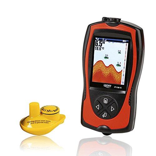 Lixada Portátil Sonar Inalámbrico Profundidad Transductor 2-en-1 de 2,4 Pulgadas LCD Detector de Peces de Alarma