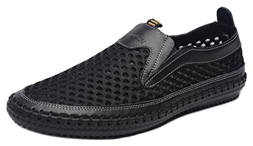 MOHEM Men's Poseidon Slip-On Loafers Water Shoes Casual Walking Shoes(3177black47)