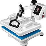 VEVOR Heat Press 12 X 15 Inch 5 in 1 Heat Press 1250W Heat Press Machine Swing Away White Heat Press T-Shirt Sublimation Printer Transfer 360 Degree Rotation for DIY Shoes Hat and T-Shirts(White)
