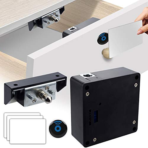 CODACE Electronic Cabinet Lock, Hidden DIY RFID Drawer Lock with RFID Card Fit for Wooden Cabinet Cupboard Pantry