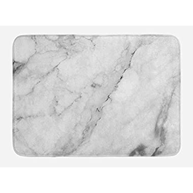 Ambesonne Marble Bath Mat, Granite Surface Motif with Sketch Nature Effect and Cracks Antique Style Image, Plush Bathroom Decor Mat with Non Slip Backing, 29.5  X 17.5 , Grey Dust White