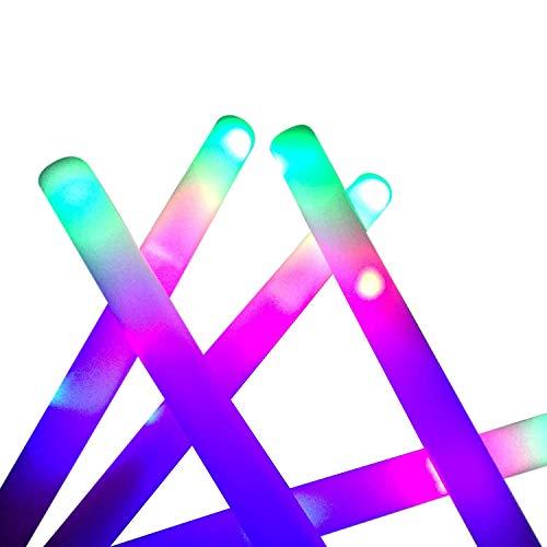 Youmine Varillas Luminosas una Granel - 24 Piezas de Varillas de Espuma LED, Porras Luminosas con Efecto Intermitente de 3 Modos, Suministros para Fiestas Que Brillan en la Oscuridad