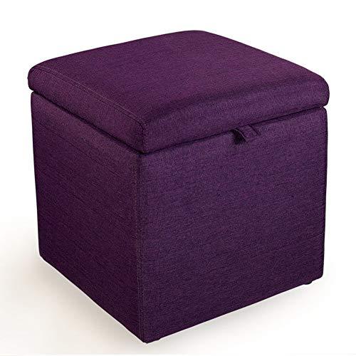 Kruk opbergkruk van massief hout, schoenenkast voor woonkamer, make-uptafel, slaapkamer, winkelcentrum, kruk (kleur: oranje, maat: 43 x 43 x 45 cm) 43 * 43 * 45cm Paars