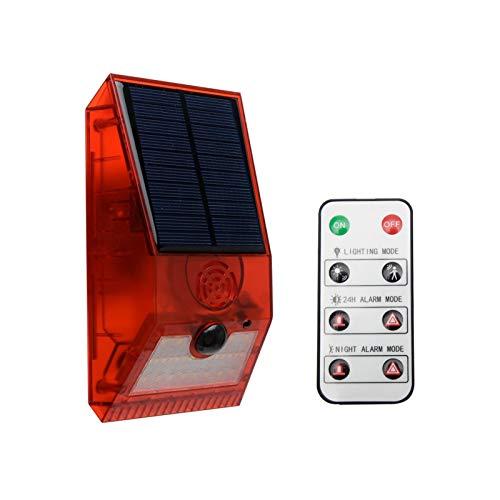 Solar Stroboskoplicht mit Bewegungsmelder Solar Alarm Licht mit Fernbedienung 129db Sound Sicherheit Sirene Licht 6 Modi IR Blinken IP55 Wasserdicht