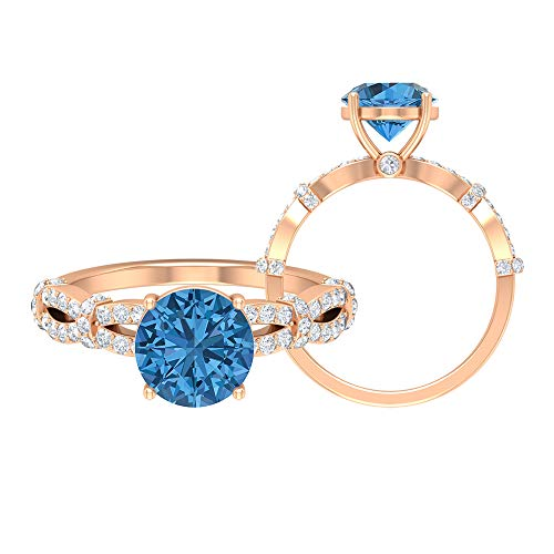 8 MM Lab Created Arctic Blue Sapphire Ring, D-VSSI Moissanite Engagement Ring, Gold Spiral Shank Ring, Solitaire Ring With Side Stone, 18K Rose Gold, Size:UK W
