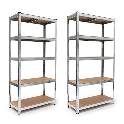 2 x Schwerlastregal, verzinkter Stahl, Traglast 875 kg, Stecksystem, Lagerregal 5 Böden, HxBxT: 179 x 90 x 41 cm, silber