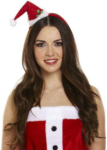 CHRISTMAS SANTA MINI hoed op het hoofd met POM POM meisjes XMAS FANCY JURK Eén maat Mini Santa Headband Hat