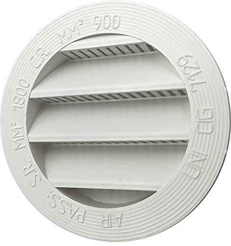 Kombi 2 Rejillas Ventilación Plástico 60 mm Ventilación Redonda Empotrable Protección Contra Insectos Blanco Sistema Aire Redondo Paquete de 2 Unidades