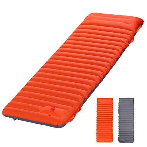 Camping de colchonetas para Dormir, Puede ser Empalmado colchón al Aire Libre Impermeable y a Prueba de Humedad, la válvula de Aire de Doble Capa Puede pisar el cojín Inflable,Naranja