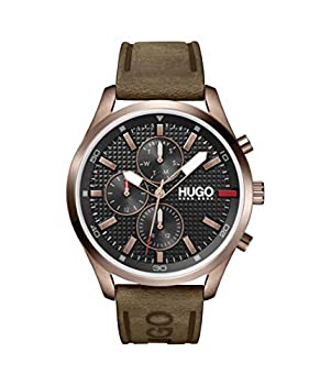 HUGO by Hugo Boss Men s #Chase Stainless Steel Quartz Watch with Leather Strap Brown 22  Model  1530162