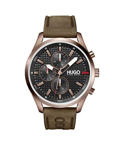 HUGO by Hugo Boss #CHASE 1530162 - Reloj de cuarzo con correa de piel, color marrón