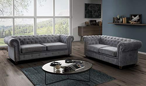 Limitless Home Chesterfield 3 + 2 sofás en tela de chenilla gris fabricado en Reino Unido (gris)