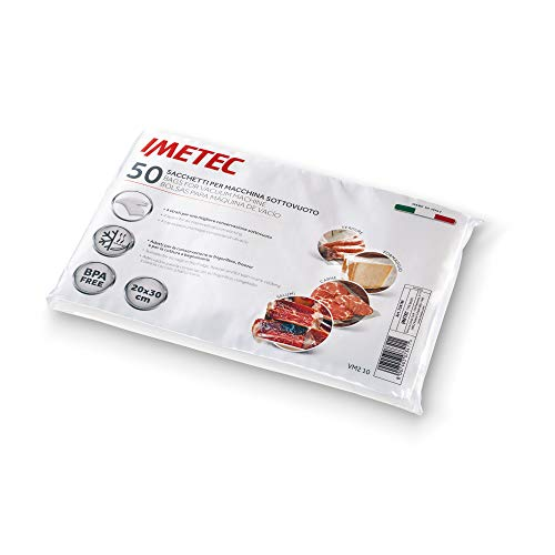 Imetec VM2 10 Set 50 bolsas para máquina de vacío, sin BPA, 20 x 30 cm, Made in Italy,...