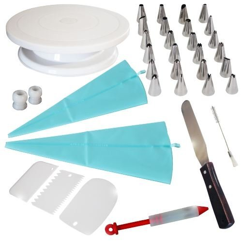 Cake Decorating Kit with Turntable – A Complete Set of Tools to Create Magnificent Cake Decorations and Make You Look Like a Pro
