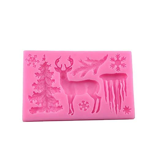 Detrade Silikonform Elch/Gletscher/Weihnachtsbaum Süßigkeiten Gebäck Kekse Form Kuchen Backen DIY Schokolade (Pink)