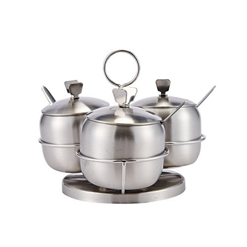 Stainless Steel Condiment Seasoning Container Pots Set with Spice Rack Large Capacity Silver Tone