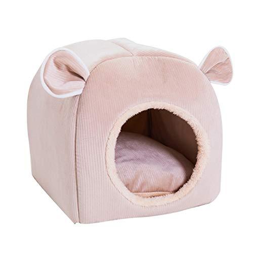 WUHUAROU Cama Linda for Gatos Perros de la Perrera Suave Nido Cama Casa Saco de Dormir de la Estera del cojín Carpa de Invierno admiten Camas Confortables y cálidas (Color : Pink, Size : 32 X 32 cm)