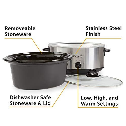 Crock-Pot 7-Quart Oval Manual Slow Cooker | Stainless Steel (SCV700-S-BR)