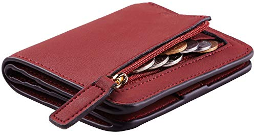 Toughergun Womens Rfid Blocking Small Compact Bifold Luxury Genuine Leather Pocket Wallet Ladies Mini Purse with ID Window (11 ReNapa Red Deep)