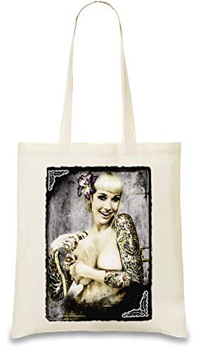 Nackt eingefärbtes Mädchen in der Dusche - Naked Inked Girl In Shower Custom Printed Tote Bag| 100% Soft Cotton| Natural Color & Eco-Friendly| Unique, Re-Usable & Stylish Handbag For Every Day Use|