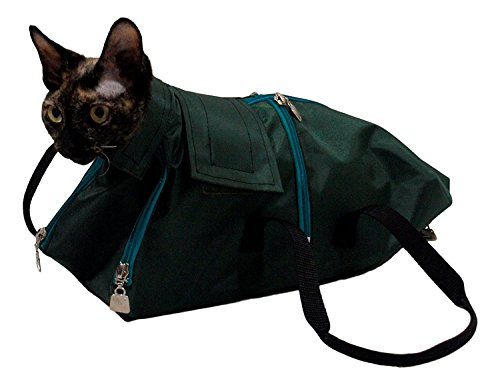 After Surgery Wear Premium Cat Restraint Bag, Cat Grooming Bag, Cat Carrier Bag. Made in Europe Using The Fabrics. (Small)