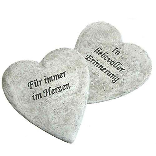 Trauer-Shop Herzen zum Gedenken mit Gravur, Für Immer im Herzen und In liebevoller Erinnerung. Höhe 12,5 cm. 2 Modelle, 2 Stück