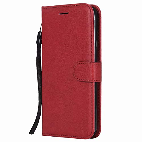 Yiizy Coque Huawei P8lite / ALE-L21, Fashion Portefeuille Etui Huawei P8 Lite Housse Cuir Silicone TPU Cover Coque Protection Magnétique avec Emplacement Cartes, Fonction Support (Rouge)