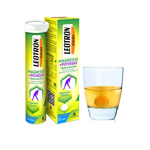 LEOTRON Magnesio + Potasio - 15 comprimidos efervescentes - Triple acción: Tono muscular, calambres y colágeno - Agradable sabor a naranja - Envase para 15 días. A partir de 12 años.