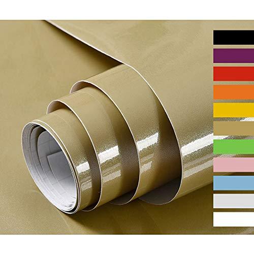 Hode Selbstklebende Folie Möbelfolie für Schränke Möbel Küche Klebefolie Mit Glitzer Wasserdicht Vinyl Gold 40X300cm