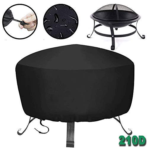 HHMH Barbecue Cover, BBQ Grill Cover with Drawstring, 210D Oxford Fabric, Water-Resistant, Anti-UV, Indoor Outdoor Rain Dust Protection, Large Burner Grill Cover, Round -Black,48x18 in