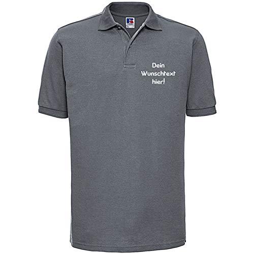 Shirt-Panda Herren Polo Shirt mit Wunschtext Wunschname · Linke Brust und oder Rücken Druck Men Personalisiert Personalisierbar Sprüche Hemd Anpassen Wunsch Grau L
