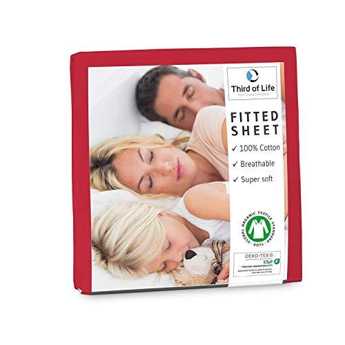 Spannbettlaken 120x200 cm aus 100% Oekotex-Baumwolle, GOTS zertifiziert I Das atmungsaktive & fusselfreie Bettlaken ALBA ist elastisch & weich I Designed in Germany I 20 cm Höhe, kirschrot
