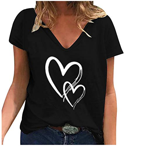 Yowablo T-Shirt Frauen Casual Fashion Loose V-Ausschnitt Bedruckte kurzärmelige Tops ( 4XL,4Schwarz )