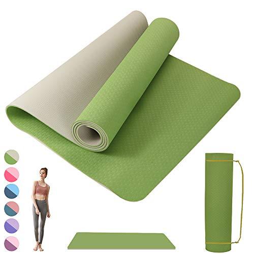 Wishstar Sportmatten, Fitnessmatte, Yogamatte, Workout Matte, Gymnastikmatte rutschfest 183 x 61 x 0.6 cm, Training Matte für Yoga, Pilates, Gymnastics (Gras Grün+Grau)