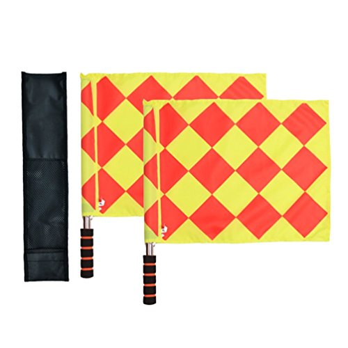 Haploon Soccer Ref Flags Football Rugby Linesman 2pcs Checkered Referee Flags Metal Pole Foam Handle with Carring Bag Pack of 2