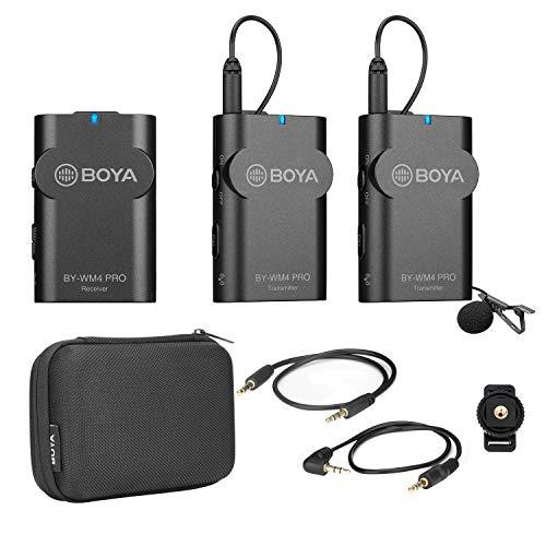 BOYA BY-WM4 Pro K2 Sistema de micrófono inalámbrico portátil 2.4G (transmisores dobles + un receptor) con estuche rígido para cámara DSLR Videocámara Teléfono inteligente PC Sonido Grabación de audio