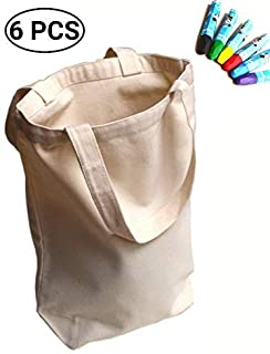 UpBrands 6 Pack Canvas Tote Bag DIY Kit Pure Color Suitable for Party Favors Gift, Goodie Bags, Small Shopping Grocery (Sturdy 10 Oz), Mother's Day or Teacher's Gift Idea