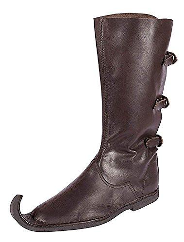 Schnabelstiefel mit drei Schnallen, dunkelbraun aus Leder - Mittelalter - LARP Schuhgröße 43