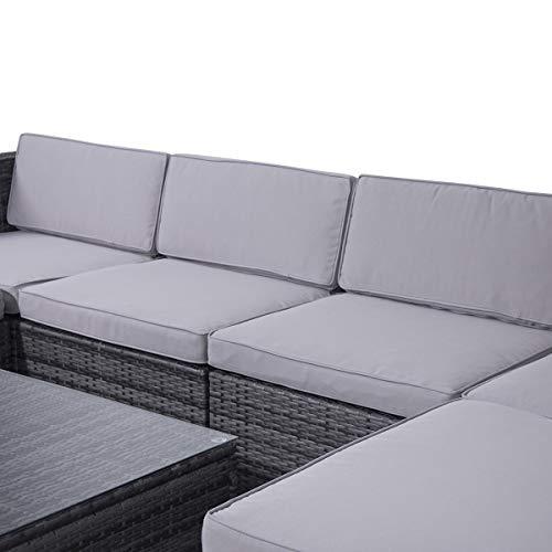 SVITA Lugano Poly Rattan Lounge Garten-Set XXL Sofa-Set Garnitur Gartenmöbel Couch-Set (XXL, Grau) - 4