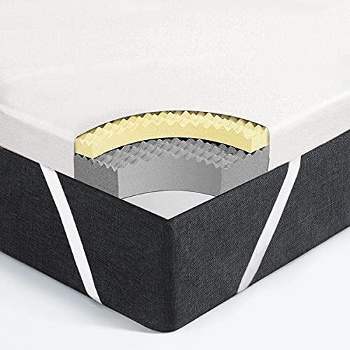Vesgantti Matratzentopper Memoryschaum Matratzenauflage 6cm hoch Topper 2 Layer Luftdurchfliessendes Ergonomisches Design Matratze(180 * 200cm)