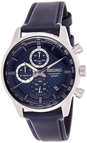 Seiko Chronograph Herren-Uhr Edelstahl mit Lederband SSB333P1