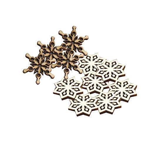 50 piezas de madera copos de nieve adornos de Navidad del copo de nieve de madera para la decoración doméstica árbol de Navidad colgado ornamento
