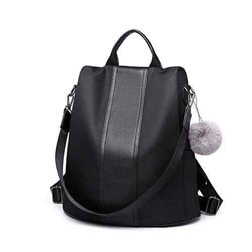 Miss Lulu Damen Rucksäcke Klein Anti Diebstahl Handtasche Casual Daypack für Damen Mädchen M (Schwarz)
