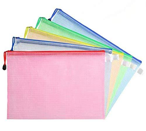 BigLion A4 Größe Mesh Dokumenten Tasche Taschen Aktenhülle Aktenordner Ordnungsmappe Zip-Datei Tasche mit Reißverschluss für Kosmetik Büros Supplies Reise-Accessoires, 6 Stück, 5 Farben