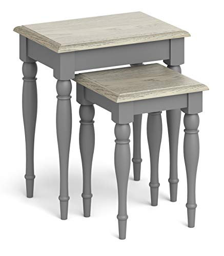 RoselandFurniture Grey Nest of Tables Oak Top | Set of 2 Painted Wooden French Style White Washed Small Occasional Nested Side Tables for Living Room | Mulsanne