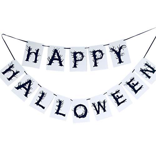 catyrre Happy Halloween Paper Banner Garland, Halloween Party Hängen Dekoration Bunting Flags