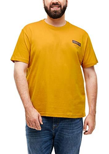 s.Oliver Big Size Herren T-Shirt mit Label-Print Yellow 4XL