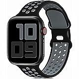Fengyiyuda Sostituzione sportiva in silicone compatibile con cinturino Apple Watch 38 mm 40 mm 42 mm 44 mm, compatibile con iWatch serie 6/5/4/3/2/1/SE Black&Gray-42/44-L